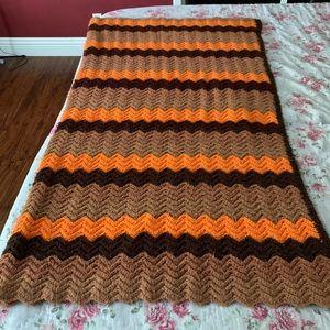 Vintage crocheted chevron blanket
